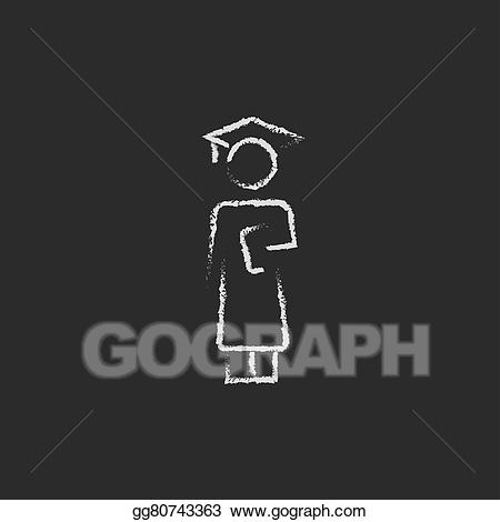 Drawing icon drawn in. Chalk clipart graduation