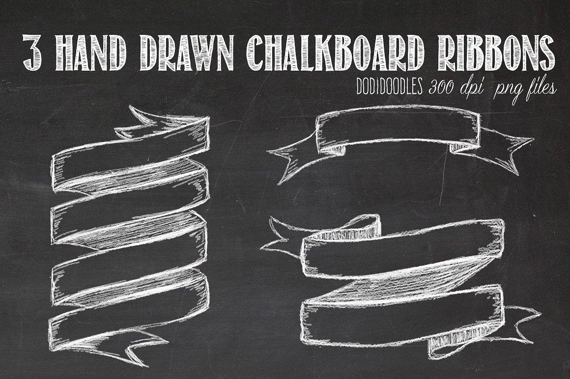 Hand drawn chalkboard ribbons. Chalk clipart ribbon