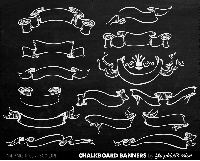 Chalkboard clip art banners. Chalk clipart ribbon