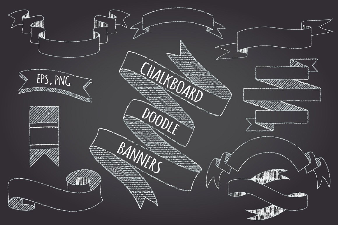 Chalk clipart ribbon. Chalkboard banners and ribbons