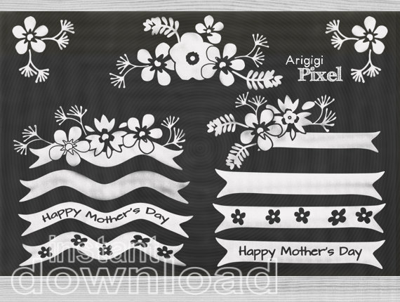 Happy mother s day. Chalk clipart ribbon