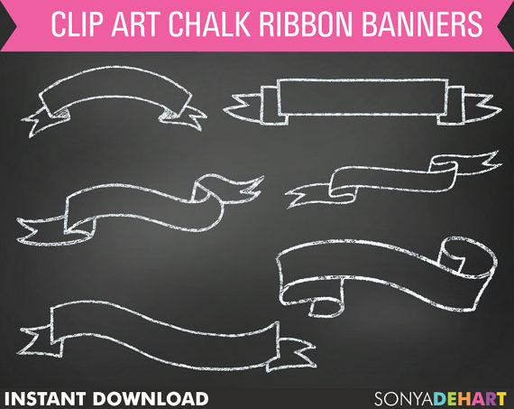Chalk clipart ribbon. Digital banner clip art