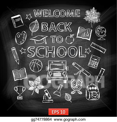 Vector art board welcome. Chalk clipart school