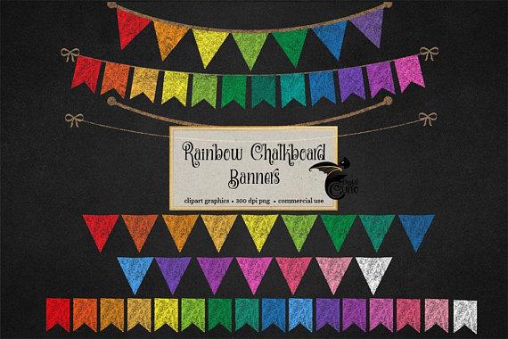 Rainbow chalkboard bunting banners. Chalk clipart school