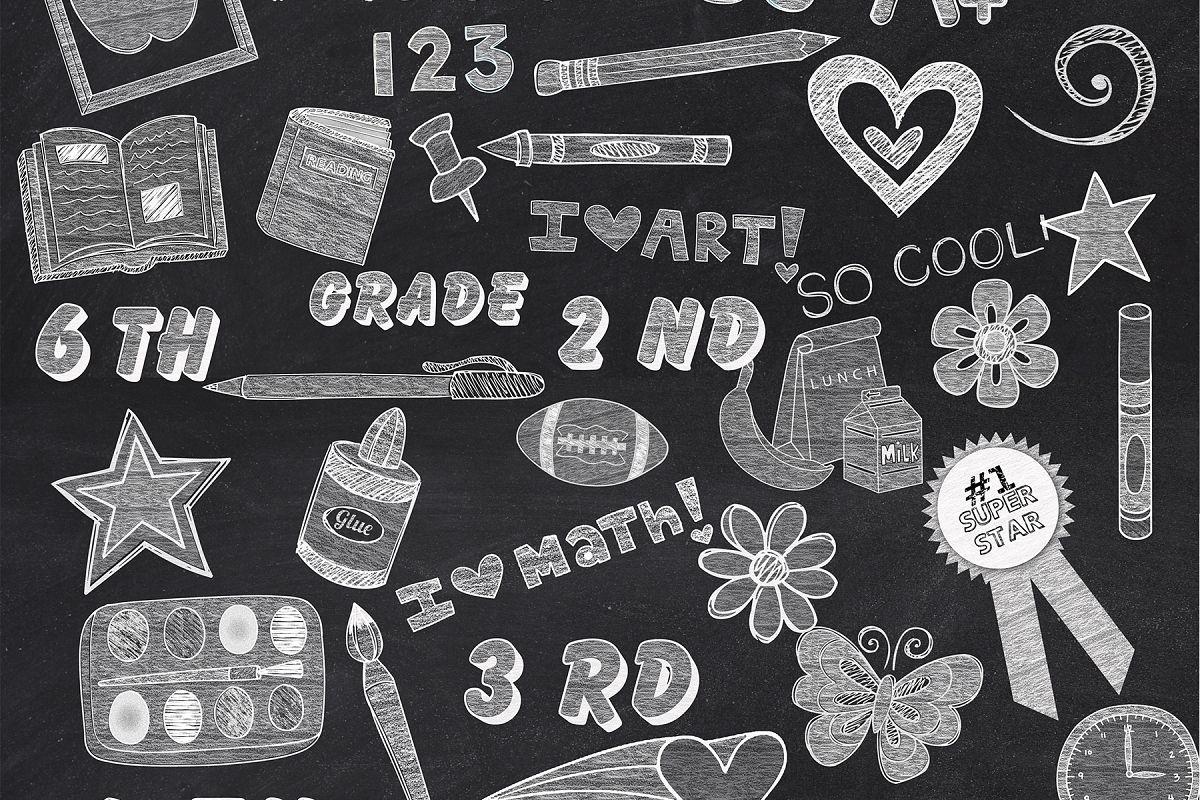 Chalk clipart school.  white elements design