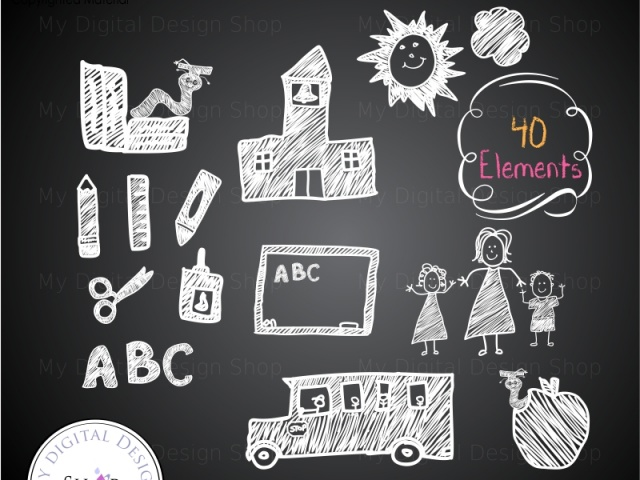 Chalk clipart school. Back to hand drawn