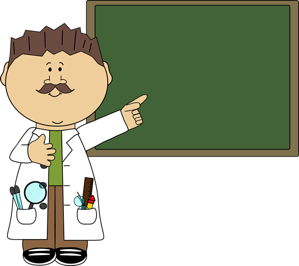 Science teacher pointing to. Doctors clipart scientist