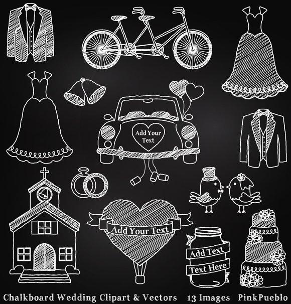 Chalk clipart wedding. Chalkboard vectors illustrations creative