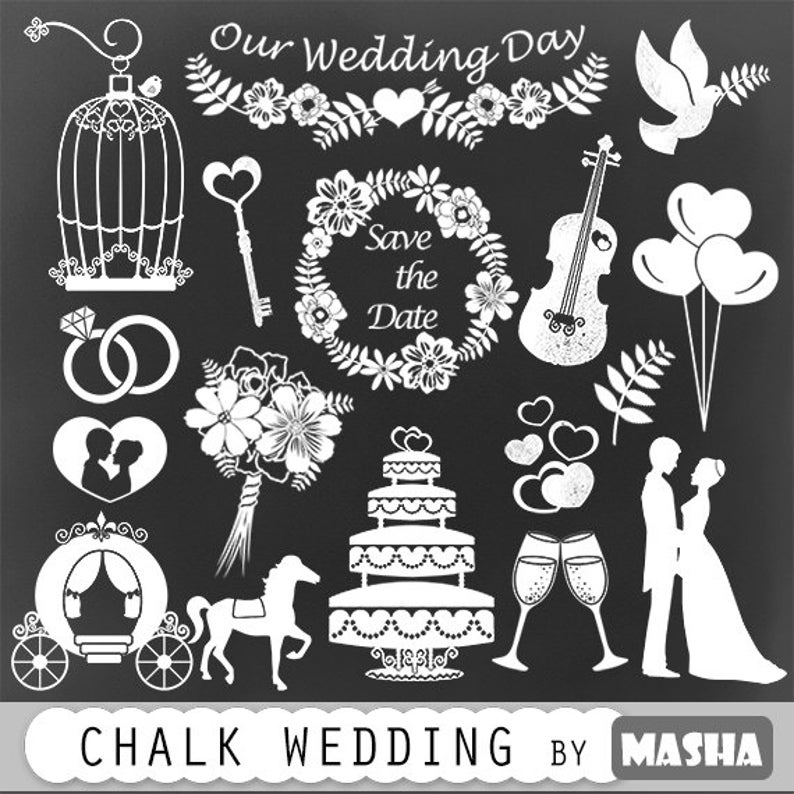 Chalkboard with save the. Chalk clipart wedding