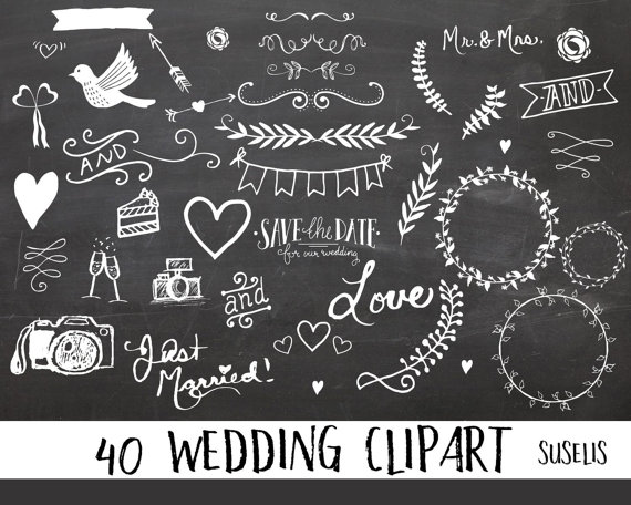 Chalkboard hand drawn overlays. Chalk clipart wedding