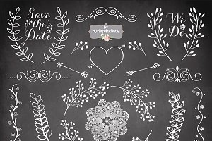Chalk clipart wedding. Chalkboard rustic illustrations creative