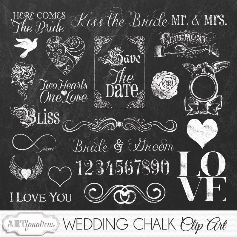 Chalkboard cliparts graphic invites. Chalk clipart wedding