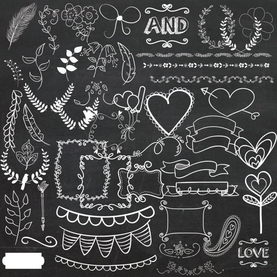 Hand drawn clip art. Chalk clipart wedding