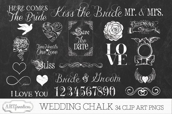 Chalk clipart wedding. Clip art illustrations creative
