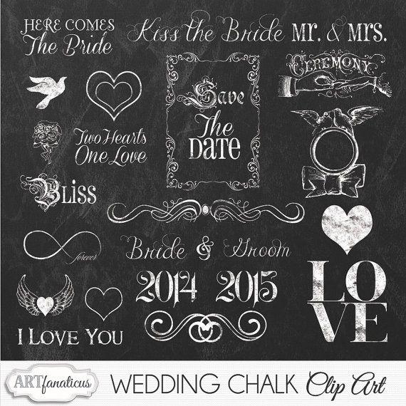 Wedding chalkboard graphicword art. Blackboard clipart chalk