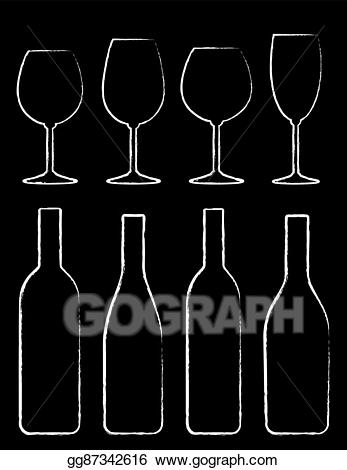 Vector stock bottle and. Chalk clipart wine glass
