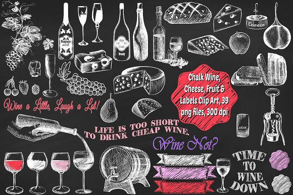 Cheese fruit labels illustrations. Chalk clipart wine glass