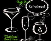 Items similar to chalkboard. Chalk clipart wine glass