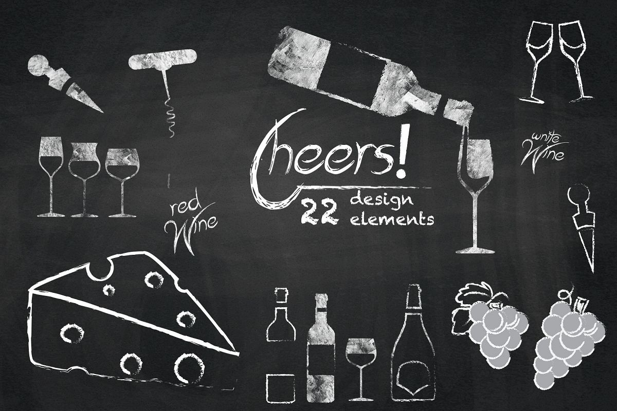 Chalkboard and cheese cliparts. Chalk clipart wine glass