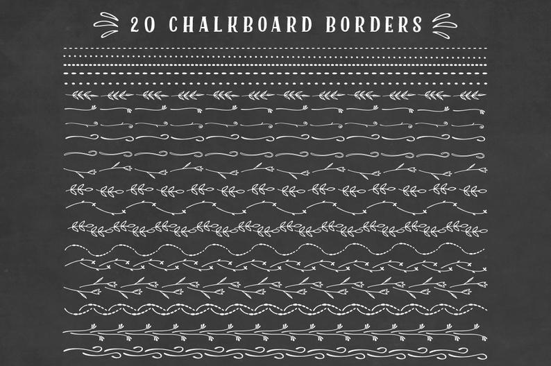 Border floral set doodles. Chalkboard clipart boarder