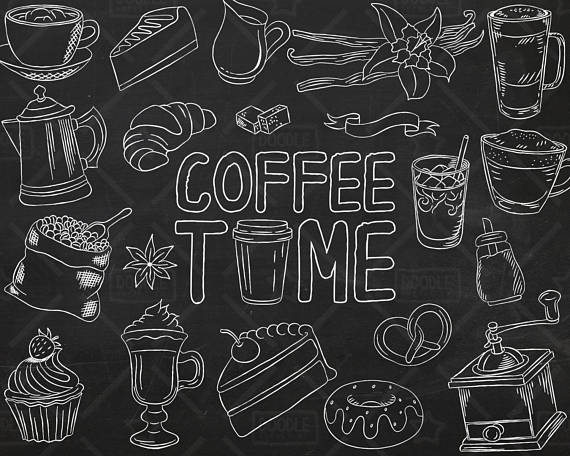 Vector pack shop bakery. Coffee clipart chalkboard