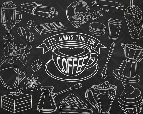 Coffee clipart chalkboard. Vector pack shop bakery