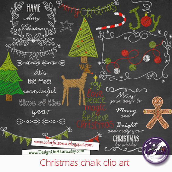 Christmas chalkboard . Chalk clipart colored chalk