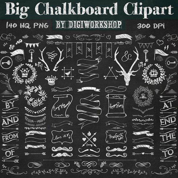 Digital big set with. Chalkboard clipart chalkboard sign