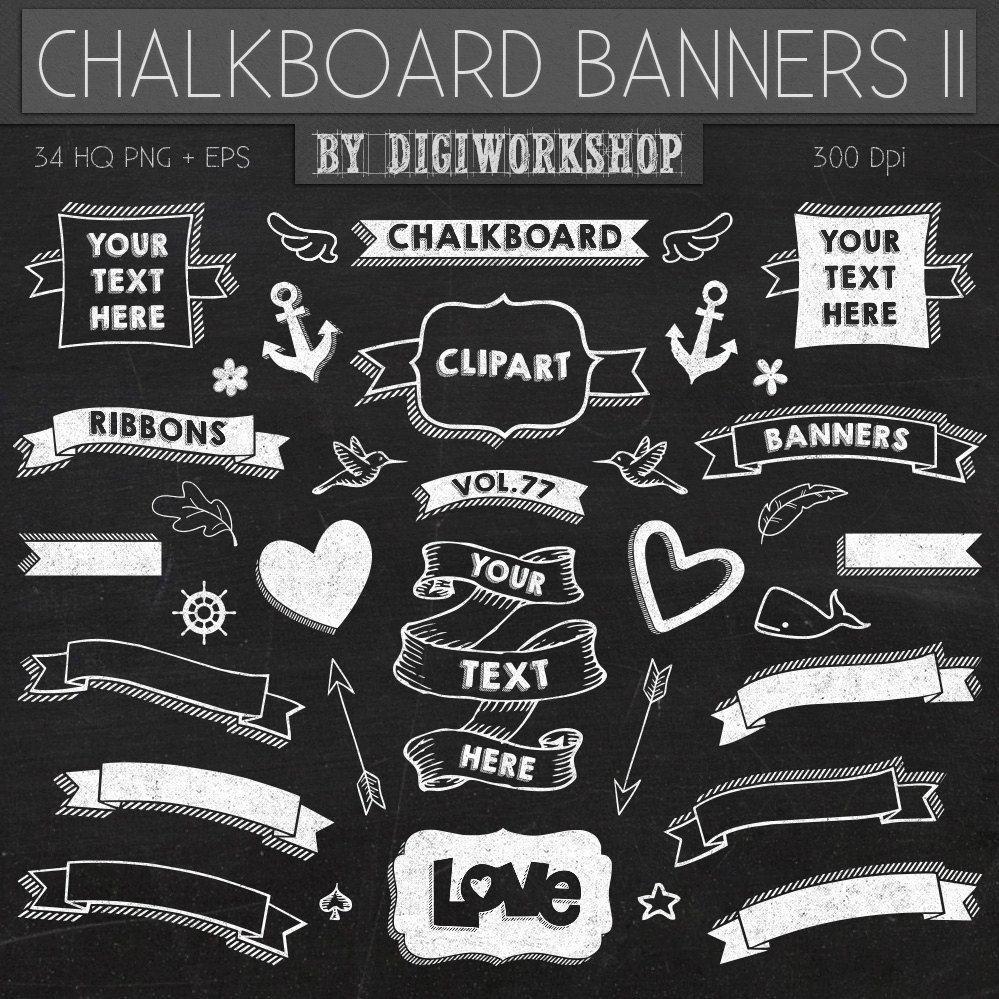 Chalkboard clipart chalkboard sign. Clip art banners ii