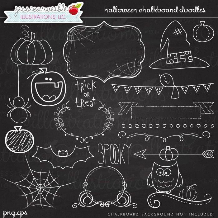 Halloween doodles digital jw. Chalkboard clipart chalkboard sign