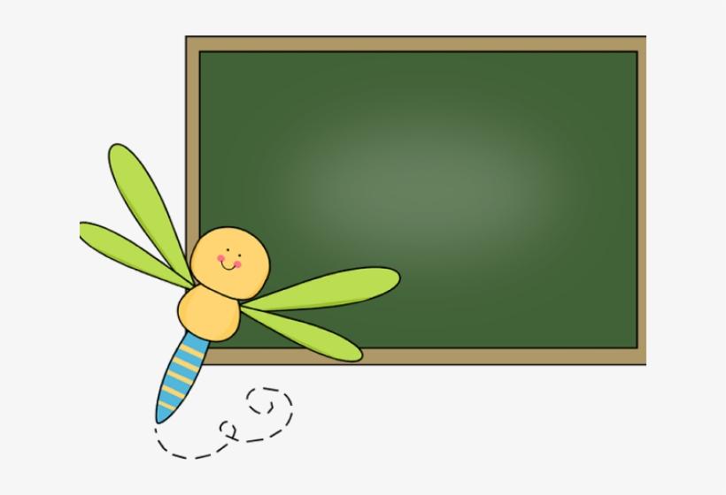Dragonfly border free . Chalkboard clipart cute