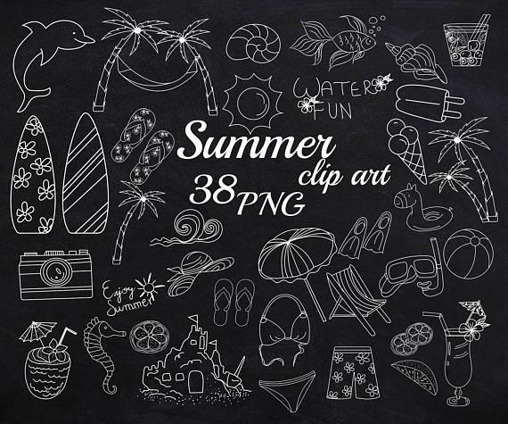 Summer clip art . Chalkboard clipart doodle