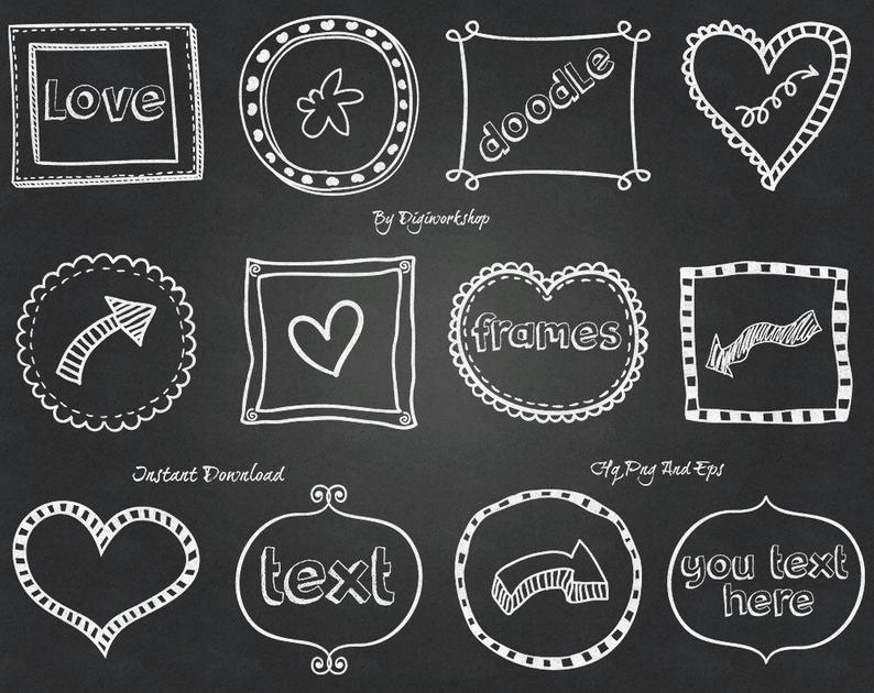 Frames digital borders clip. Chalkboard clipart doodle