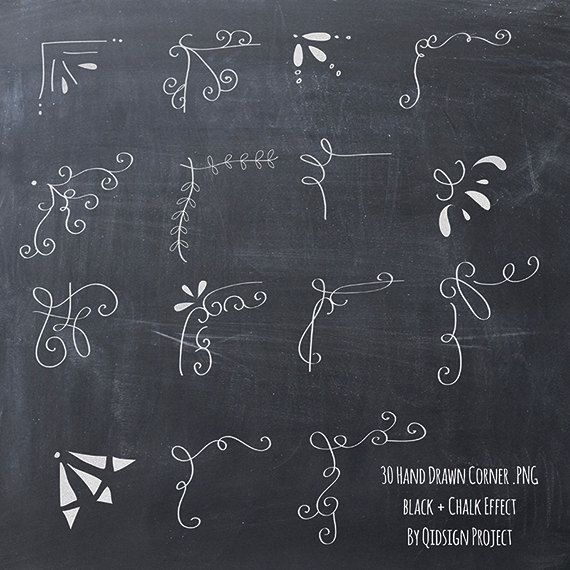 Chalkboard clipart easy.  hand drawn corner
