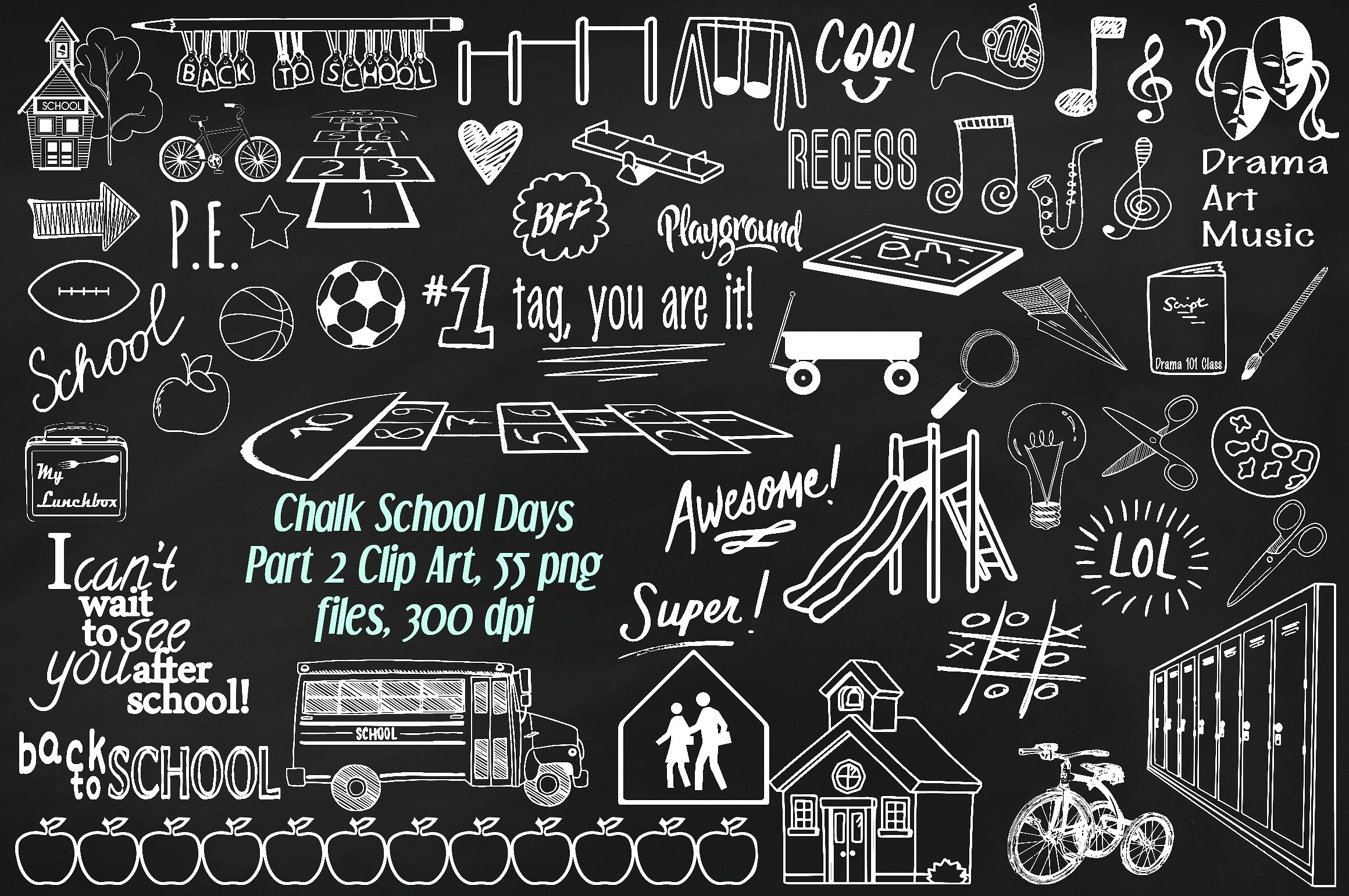 Chalkboard clipart elementary school. Chalk days pt illustrations