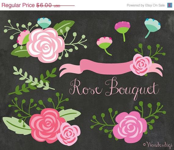 Sale off flowers floral. Clipart rose chalkboard