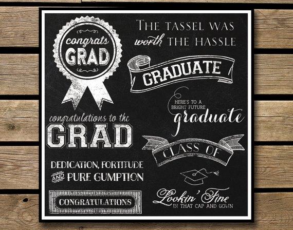 Graduate senior instant download. Chalkboard clipart graduation