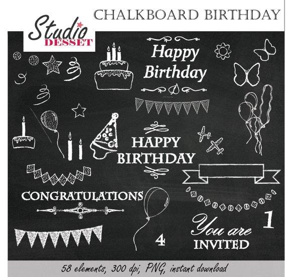 Chalk clipart birthday. Chalkboard happy party invites