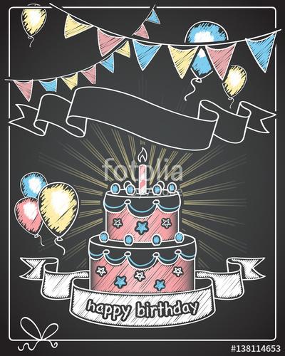 Happy chalkboard banner with. Chalk clipart birthday