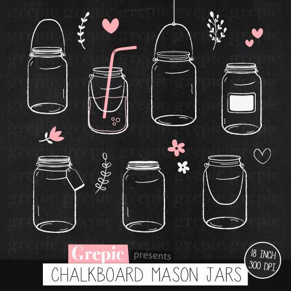 Clip art jars pack. Chalkboard clipart mason jar