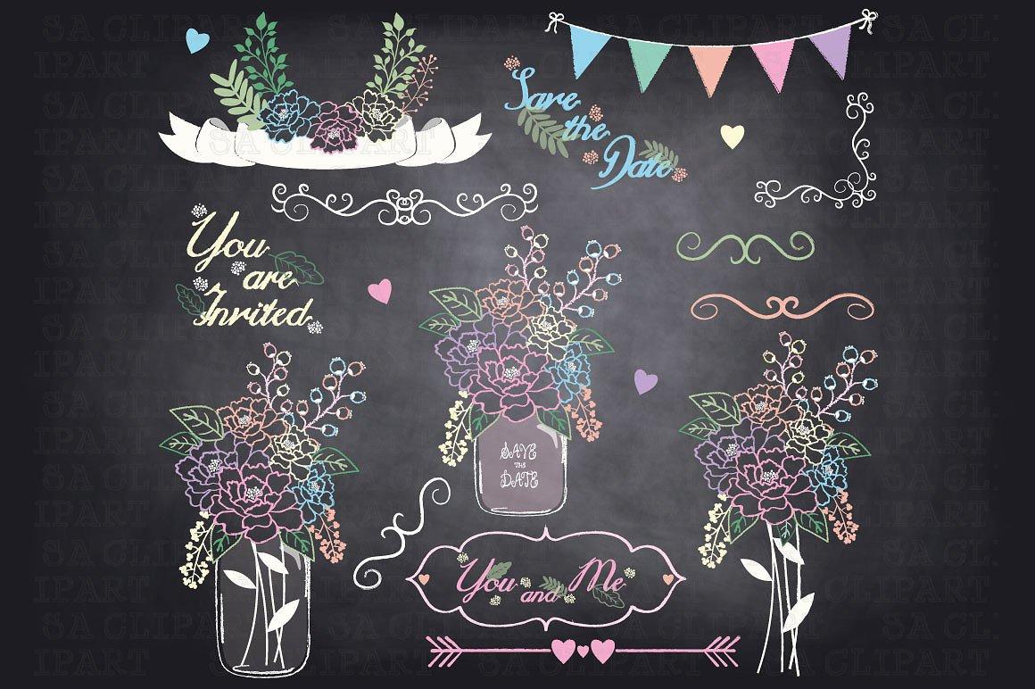 Chalkboard clipart mason jar. Illustrations creative market
