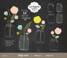 Chalkboard clipart mason jar. Clip art jars flowers