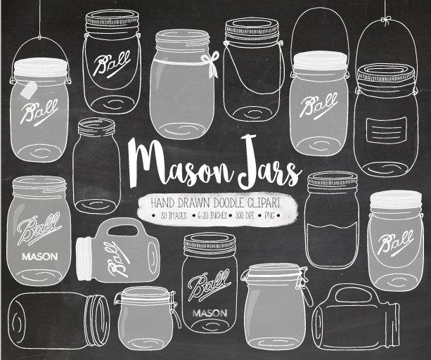 Chalkboard clipart mason jar. Clip art hand drawn