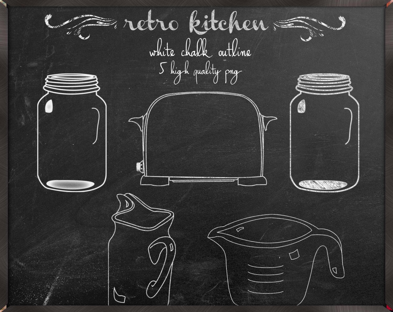 Chalkboard clipart mason jar. Kitchen digital clip art