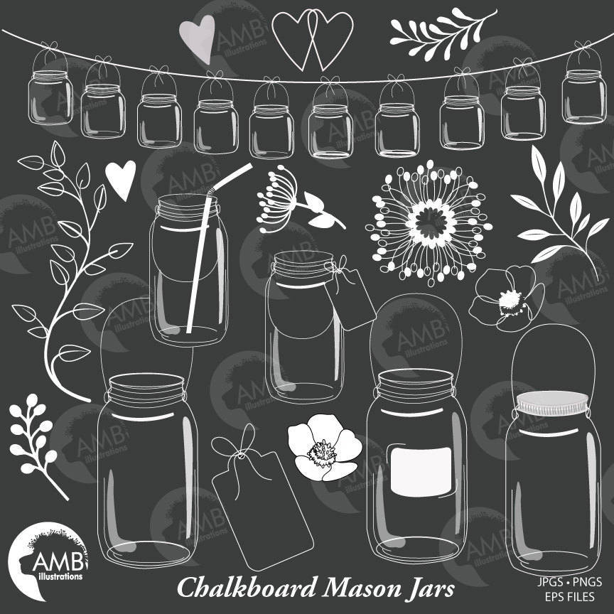 Shabby chic floral. Chalkboard clipart mason jar