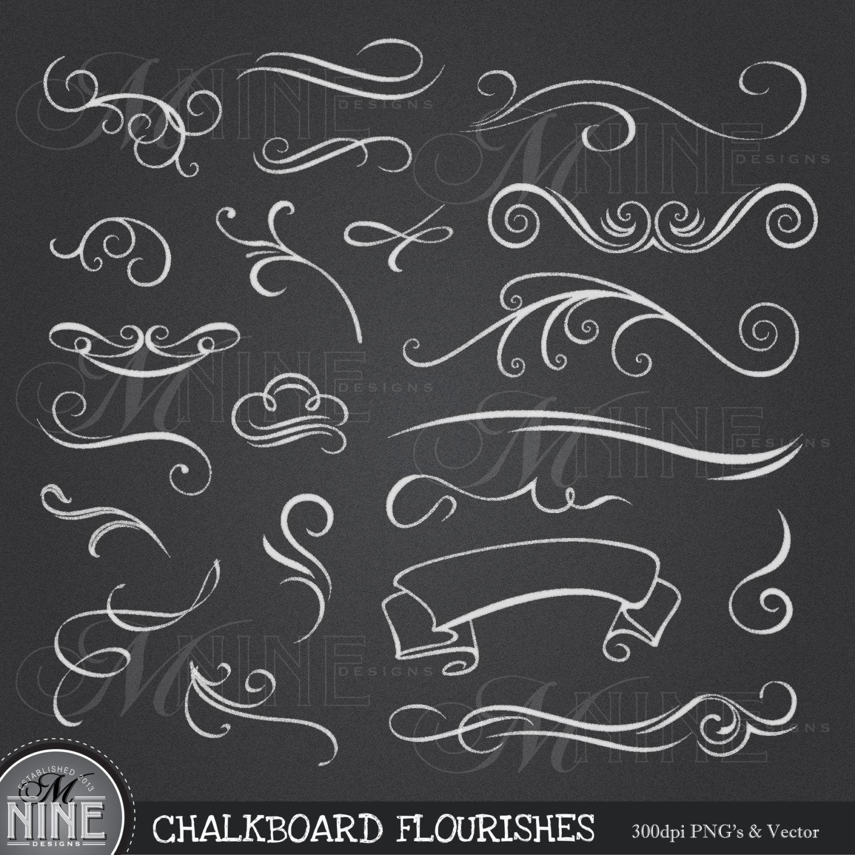 Clip art chalk flourishes. Chalkboard clipart printable