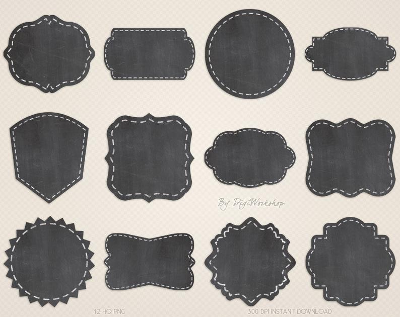 Label clip art labels. Chalkboard clipart printable
