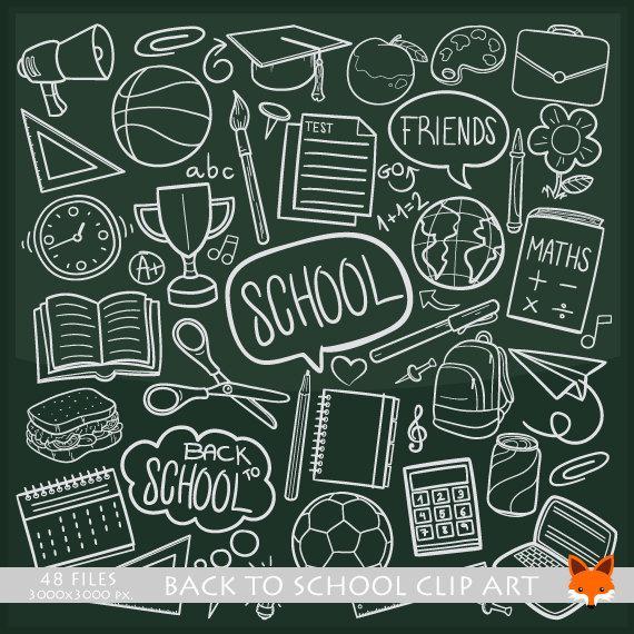 School kids objects doodle. Chalkboard clipart scrapbook