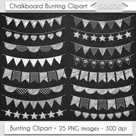 Bunting flags doodle garland. Chalkboard clipart scrapbook