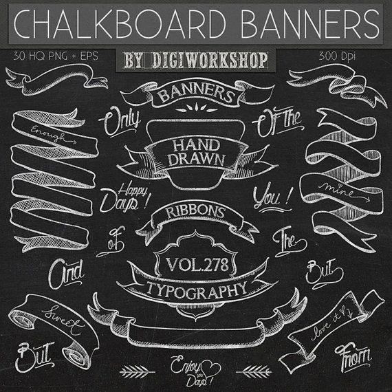 Chalkboard clipart scrapbook. Clip art banners with